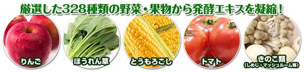 328種類の野菜と果物から